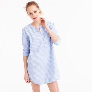 J. Crew Blue White Striped Cotton Nightshirt Sz S